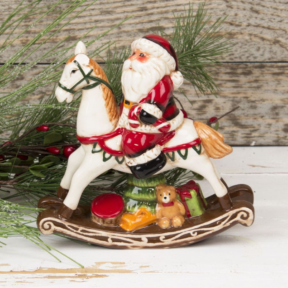 Ceramic Santa Claus on Rocking Horse Christmas Ornament